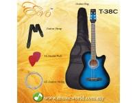 EVO T-38C Blue Acoustic Guitar 38 Inch Beginner Guitar Student Guitar Free Bag String Pick Strap