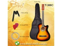 EVO T-38C Sunburst Acoustic Guitar 38 Inch Beginner Guitar Student Guitar Free Bag String Pick Strap