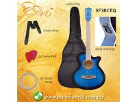 EVO SF38CEQ Blue Acoustic Guitar With Pickup 38 Inch Beginner Guitar Pick Up Student Guitar Free Bag String Pick Strap
