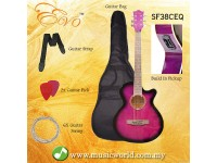 EVO SF38CEQ Purple Acoustic Guitar With Pickup 38 Inch Beginner Guitar Pick Up Student Guitar Free Bag String Pick Strap
