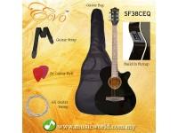 EVO SF38CEQ Black Acoustic Guitar With Pickup 38 Inch Beginner Guitar Pick Up Student Guitar Free Bag String Pick Strap