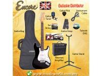 ENCORE EBP-E6BLK Black Electric Guitar Package Starter Pack Electric Guitar Bundle