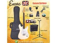 ENCORE EBP-E6VW White Electric Guitar Package Starter Pack Electric Guitar Bundle