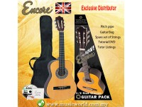 Encore ENC12OFT Natural Wood Half Size Classic Guitar Bundle Starter Pack Package
