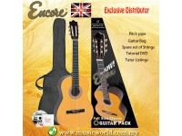 Encore ENC440FT Natural Wood Full Size Classic Guitar Bundle Starter Pack Package