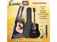 ENCORE EWP-100BK Dreadnought Black Acoustic Guitar Black Bundle Starter Pack Package