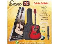 ENCORE EWP-100RB Redburst Dreadnought Black Acoustic Guitar Bundle Starter Pack Package