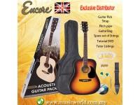 ENCORE EWP-100SB Dreadnought Sunburst Acoustic Guitar Bundle Starter Pack Package