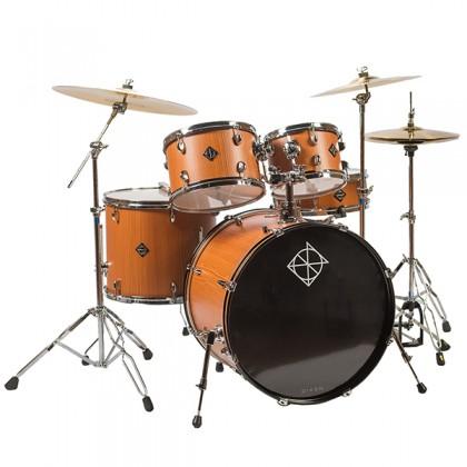 "Dixon Soar Series 5 Piece Drum Kit Mahagony Shell 22"" Kick with MS-X Istanbul Cymbal Set (Cherry Wood)"