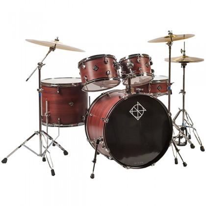 "Dixon Soar Series 5 Piece Drum Kit Mahagony Shell 22"" Kick with MS-X Istanbul Cymbal Set (Red Wood)"