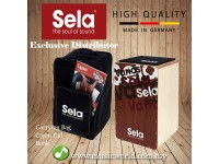 Sela SE 092 Cajon Varios Bundle Standard Cajon Pack with Backpack Sitting and Book