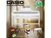 CASIO PX-770 88 Key Digital Piano White with Bench and Headphone (PX770 / PX 770)