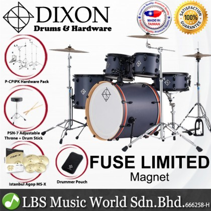 Dixon PODFL522MN Fuse Maple 5 Pieces Acoustic Drum Kit Set With Istanbul Cymbal Set Limited Edition Magnet With Magnet Orange Bass Hoop
