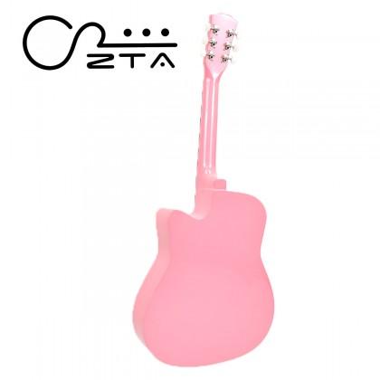 ZTA 38 Inch Pink Acoustic Guitar Wood Cutaway Starter Pack Folk Guitar Bundle
