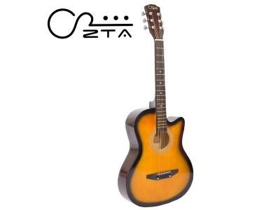 ZTA 38 Inch Acoustic Guitar Sunburst Cutaway Starter Pack Folk Guitar Bundle