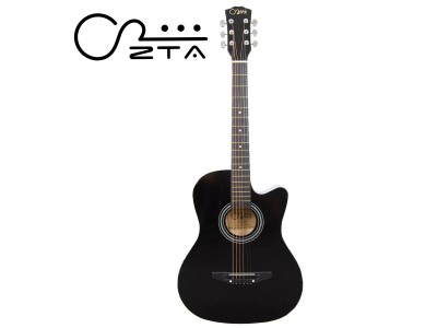 ZTA 38 Inch Acoustic Guitar Black Cutaway Starter Pack Folk Guitar Bundle