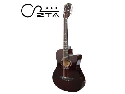 ZTA 38 Inch Acoustic Guitar Dark Brown Cutaway Starter Pack Folk Guitar Bundle