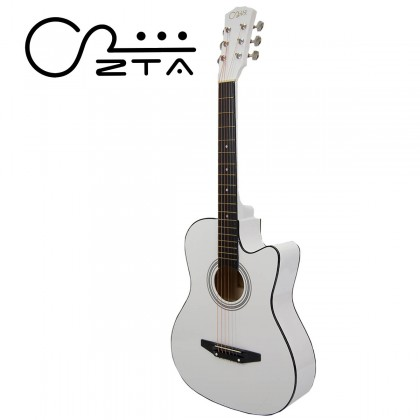ZTA 38 Inch Acoustic Guitar White Cutaway Starter Pack Folk Guitar Bundle