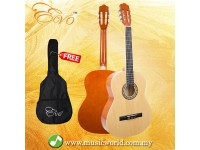 EVO AZ-39C/N 39 Inch Natural Classical Guitar with Bag Premium Guitar