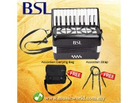 BSL Accordion 22 Key 8 Bass Accordion Wind Piano Organ Black With Bag