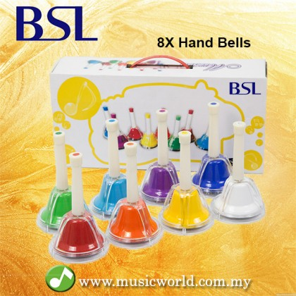 BSL Hand Bells 8 Note Metal Colour Hand Bells C Major