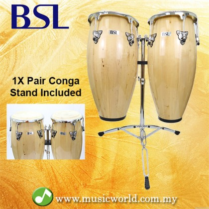 BSL Full Size Conga Natural Percussion Drum Pair Congas Set Adjustable Tunable With Double Stand