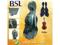 BSL ABS Carbon Lightweight Rollable Cello Hard Case Bag With Lock Green 4/4 Full Size