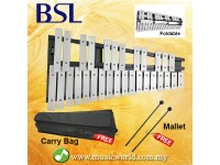BSL 30 Note Foldable Glockenspiel Vibraphone Xylophone Bell Aluminium Bar Music Instrument With Bag and Mallet
