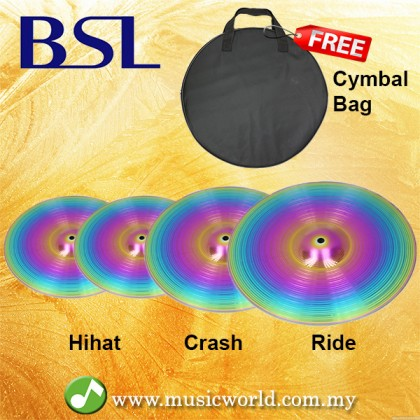 BSL Cymbal Set Crash Ride Hihat Colourful Cymbal For Drum Set With Cymbals Bag