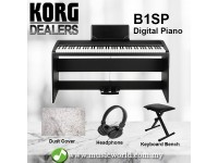 Korg B1SP 88 Key Digital Piano Black With Bench Headphone Electric (B1 SP / B1-SP)