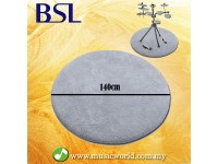 BSL Drum Carpet 140cm Drum Rug Digital Drum Rug Silver with Rubber Bottom Anti Slip Mat