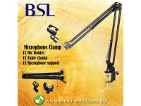 BSL Mic Stand Microphone Clamp with Mic Holder Boom Arm Table Clamp Stand Holder Foldable