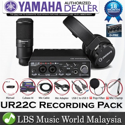 Yamaha Steinberg UR22C USB C Audio Interface Pack with ST-M01 Condenser Microphone and ST-H01 Headphone (Pop Filter and Mic Clamp)