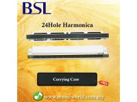 BSL C Key Harmonica Stainless Steel Beginner Harmonica 24 20 16 10 Hole With Carrying Case